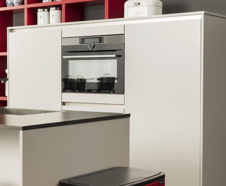 Verbluffend rood keukenkasten