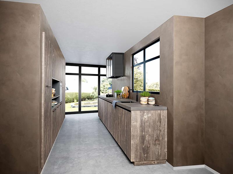 Industriële keuken met hout