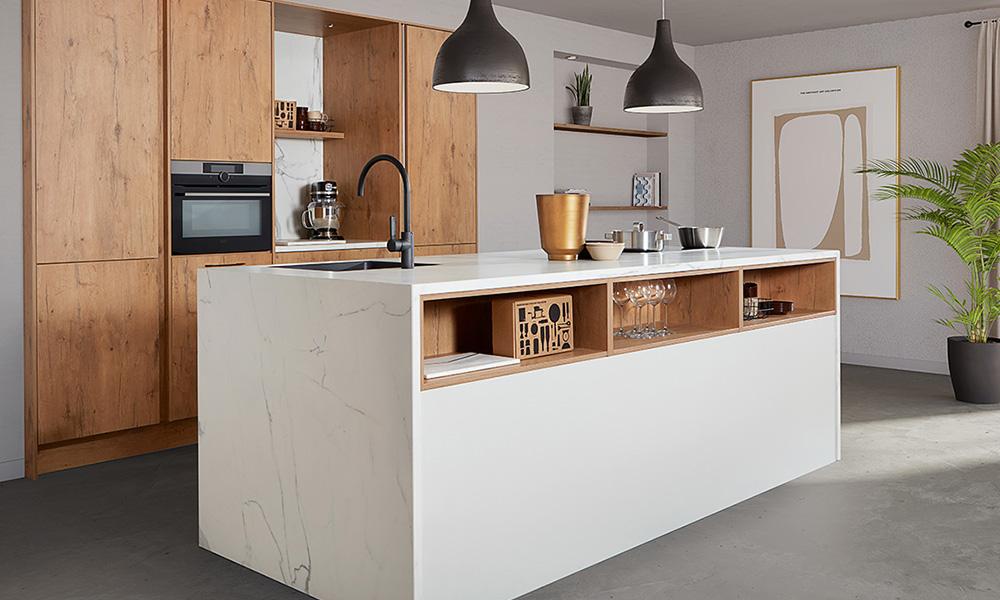 Keuken met natuursteen aanrechtblad